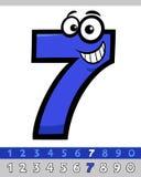 Personaje de dibujos animados divertido del número siete Imagenes de archivo