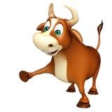 Personaje de dibujos animados divertido lindo de Bull Imagen de archivo libre de regalías