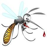 Personaje de dibujos animados divertido y enojado prohibido mosquito del vector foto de archivo libre de regalías