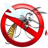 Personaje de dibujos animados divertido y enojado prohibido mosquito del vector stock de ilustración
