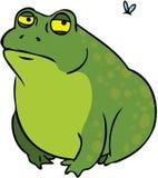 Personaje de dibujos animados gordo gruñón de la rana Fotos de archivo