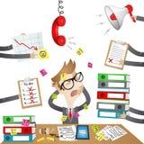 Personaje de dibujos animados: Hacia fuera subrayado hombre de negocios Imagen de archivo libre de regalías