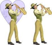 Personaje de dibujos animados hispánico retro del músico Foto de archivo libre de regalías