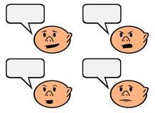 Personaje de dibujos animados de la burbuja del discurso con diverso vector de las emociones stock de ilustración