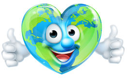 Personaje de dibujos animados de la mascota del corazón de la tierra Imágenes de archivo libres de regalías