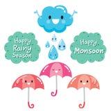 Personaje de dibujos animados de la nube, del paraguas y de la gota de agua Foto de archivo libre de regalías