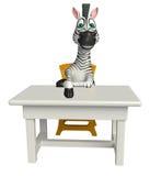 Personaje de dibujos animados lindo de la cebra con la tabla y la silla ilustración del vector