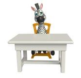Personaje de dibujos animados lindo de la cebra con la tabla y la silla libre illustration