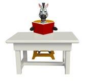 Personaje de dibujos animados lindo de la cebra con la tabla y la silla stock de ilustración