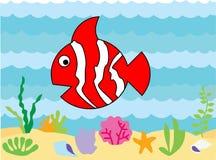 Personaje de dibujos animados lindo de los clownfish stock de ilustración