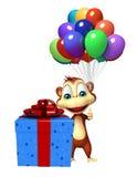 Personaje de dibujos animados lindo del mono con el baloon y el giftbox Fotografía de archivo