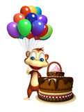 Personaje de dibujos animados lindo del mono con el baloon y la torta Foto de archivo