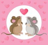 Personaje de dibujos animados lindo divertido del ratón con un baloon Ilustración del vector Foto de archivo