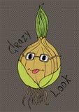 Personaje de dibujos animados loco de la cebolla de la mirada Foto de archivo libre de regalías