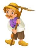 Personaje de dibujos animados maravillosamente coloreado - una más vieja situación del granjero y en la tierra y anticipar - aisl ilustración del vector