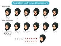 Personaje de dibujos animados musulmán de la mujer para la sincronización y las expresiones de animación de labio ilustración del vector