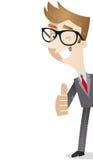Personaje de dibujos animados: Pulgares del hombre de negocios para arriba Fotos de archivo libres de regalías