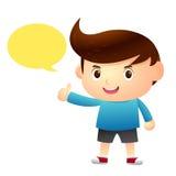 Personaje de dibujos animados que habla del muchacho Foto de archivo