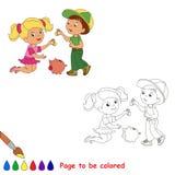 Personaje de dibujos animados que juega al bebé Imágenes de archivo libres de regalías