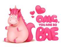 Personaje de dibujos animados rosado lindo del unicornio del emoticon ilustración del vector