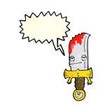 personaje de dibujos animados sangriento del cuchillo con la burbuja del discurso Imágenes de archivo libres de regalías