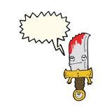 personaje de dibujos animados sangriento del cuchillo con la burbuja del discurso Fotografía de archivo libre de regalías