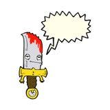personaje de dibujos animados sangriento del cuchillo con la burbuja del discurso Fotos de archivo libres de regalías