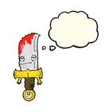 personaje de dibujos animados sangriento del cuchillo con la burbuja del pensamiento Foto de archivo