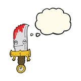 personaje de dibujos animados sangriento del cuchillo con la burbuja del pensamiento Fotos de archivo