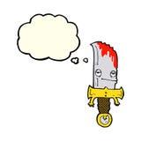 personaje de dibujos animados sangriento del cuchillo con la burbuja del pensamiento Imagen de archivo libre de regalías