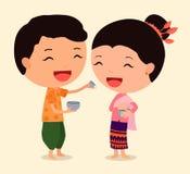 Personaje de dibujos animados Songkran 1 Fotos de archivo libres de regalías
