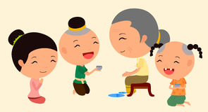 Personaje de dibujos animados Songkran 6 Imagen de archivo libre de regalías