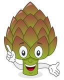Personaje de dibujos animados sonriente de la alcachofa Fotos de archivo