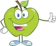 Personaje de dibujos animados verde de Apple que detiene un pulgar Foto de archivo libre de regalías