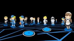 Personajes de dibujos animados alfa de la animación del fondo en diversas profesiones y hombre y mujer del trabajo en medios Inte stock de ilustración