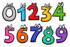 Personajes de dibujos animados básicos de los números fijados stock de ilustración
