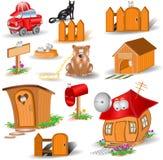 Personajes de dibujos animados brillantes de los iconos Imagen de archivo libre de regalías