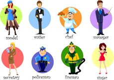 Personajes de dibujos animados - cocinero, policía, bombero, camarero Fotos de archivo libres de regalías