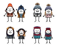 Personajes de dibujos animados con los accesorios reales - pares Imagen de archivo