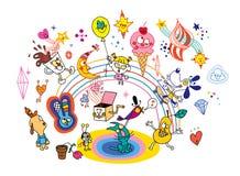 Personajes de dibujos animados de la diversión ilustración del vector