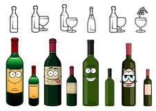 Personajes de dibujos animados de las botellas de vino en diverso Foto de archivo libre de regalías