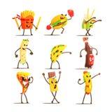 Personajes de dibujos animados de los alimentos de preparación rápida fijados Imagen de archivo libre de regalías