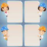 Personajes de dibujos animados de los capataces que miran el sistema en blanco del cartel Fotografía de archivo libre de regalías