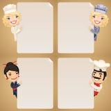 Personajes de dibujos animados de los cocineros que miran el sistema en blanco del cartel Foto de archivo libre de regalías
