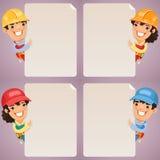 Personajes de dibujos animados de los constructores que miran el sistema en blanco del cartel Fotografía de archivo libre de regalías