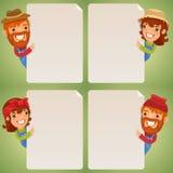 Personajes de dibujos animados de los granjeros que miran el sistema en blanco del cartel Fotos de archivo