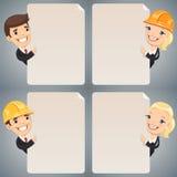 Personajes de dibujos animados de los hombres de negocios que miran el sistema en blanco del cartel Imagen de archivo