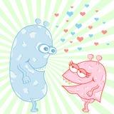 Personajes de dibujos animados del amor del monstruo Stock de ilustración