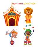 Personajes de dibujos animados del circo ilustración del vector