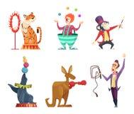 Personajes de dibujos animados del circo Aislante de las mascotas del vector en blanco ilustración del vector